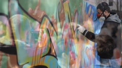 Street art people and urban wall graffiti Stock Footage