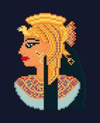 Vector pixel art illustration of woman cleopatra portrait  from ancient Egypt - stock illustration