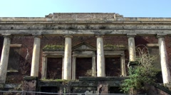 Ruin portico doric columns hill top Sunday School Burslem Stock Footage
