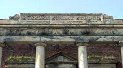 Ruin portico doric columns hill top Sunday School Burslem architecture Stock Footage