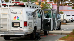 NBC affiliate news crew covers Walter Scott murder case Stock Footage