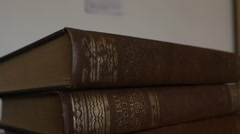 Vertical Shot Of Books - Encyclopedia - Old Books - stock footage