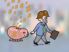 Stock Illustration of Money falling in hole on back of pink piggy bank