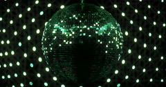 Mirrorball Disco Ball Green Metallic Lights Stock Footage