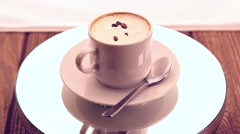 White cup with coffee Stock Footage