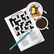 illustration of crossword game, mug of coffee and crepe - stock illustration