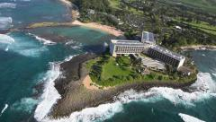 Aerial Turtle Bay Resort, North Shore, Oahu - stock footage
