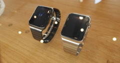 Apple Watch Close-up with Link Bracelet Stock Footage