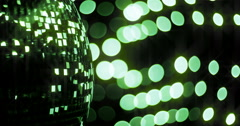 Mirrorball Disco Ball Green Sparkle Left Stock Footage