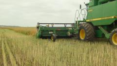 Combine Harvester Passing While Swathing a Canola Crop for Harvest - stock footage