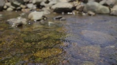 waterfall are flowing through a rock during the shallow water area - stock footage