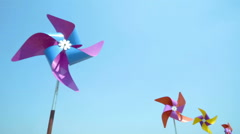 Colorful wind turbine rotating by blowing of wind Stock Footage