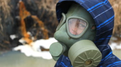 Mask Chemical Toxic waste from factory in river Stock Footage
