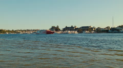 Rottnest Ferry Passing By On The Swan River Stock Footage