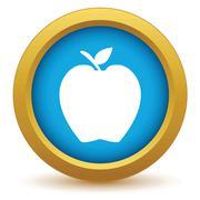 Gold apple icon Stock Illustration