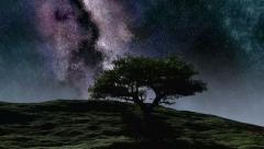 Time lapse purple night sky stars over the hill with tree Stock Footage