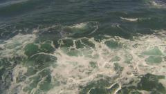Aerial low angle fast over ocean and waves, North Shore, Oahu Stock Footage