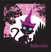 cute black kitten wizard - stock illustration