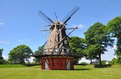 Beautiful old wind mill in denmark Stock Photos
