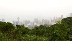 Nice city view from the foresty top of the mountain Stock Footage