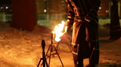 Artists show presentation with fire Stock Footage