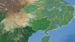 Guangxi - China autonomous region extruded. Bumps shaded. Stock Footage