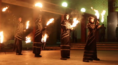 Stock Video Footage of Artists show presentation with fire