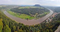 View to bend of river Elbe from Bastei in Saxony, Germany Stock Photos