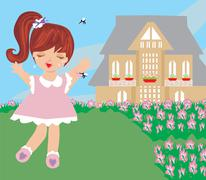 Girl runs away from mosquitoes Stock Illustration