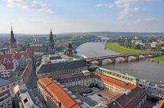View over the city of dresden, germany with river elbe Stock Photos