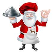 Santa Chef Christmas Dinner Concept - stock illustration