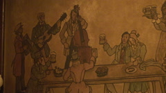 Bar scene wood engraving, man with beer & music band Stock Footage