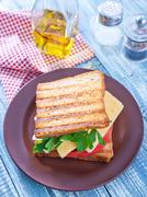 Toasts with cheese and tomato Stock Photos