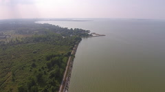 Lake Erie Algae Bloom High Aerial View Stock Footage