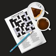 illustration of crossword game, mug of coffee and pie - stock illustration