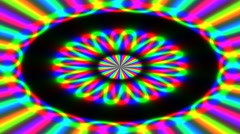 Animated illustration of bright colorful spirals rotating on black background. Stock Footage