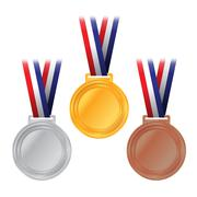 Gold, Silver, and Bronze Medals Illustration Stock Illustration