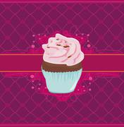 Charming Pattern With cupcake Stock Illustration