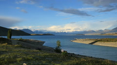 New Zealand Lake Tekapo sandy peninsula and inlet near church Stock Footage