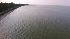 Aerial View of Green Lake Erie During Algae Bloom Stock Footage