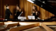 Classical music concert rehearsal defocused background Stock Footage