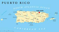 Puerto Rico Political Map - stock illustration