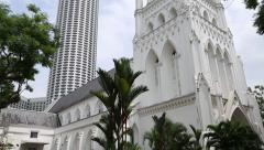 Stock Video Footage of Saint Andrew's Cathedral is an Anglican cathedral in Singapore