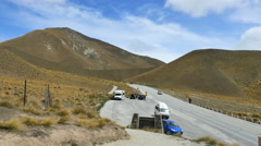 New Zealand South Island mountain pass road parking turnout Stock Footage