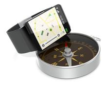 smartwatch and gps - stock illustration