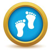 Gold foot steps icon Piirros