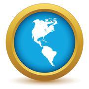Gold continent America icon Stock Illustration