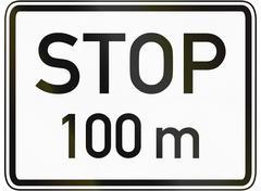Stop 100 Meters Ahead Stock Illustration