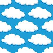 Cartoon seamless pattern with white clouds - stock illustration