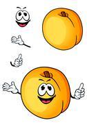 Smiling peach or nectarine fruit cartoon character Stock Illustration